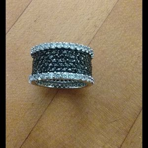 Ross Simmons Black Clear Zircon Silver Ring 8